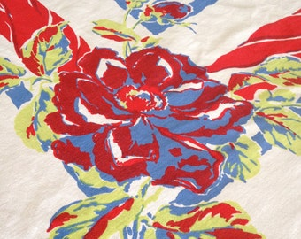 Striking Brilliant Vintage 1950s Cotton Floral Tablecloth – Bright Colors – Cornflower Blue, Red, and Lime Green – Splashy Roses and Buds