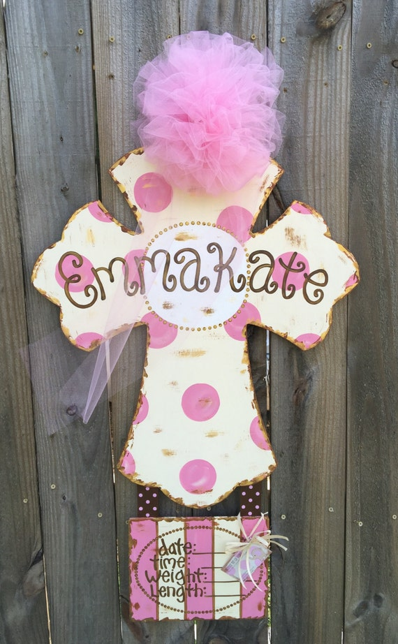 Items Similar To Hospital Door Hanger For Baby Girl Cross