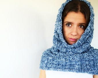 Blue knit tube scarf. Knitted hooded scarf. Wool neck warmer. Knitted scarf. Gif idea for her