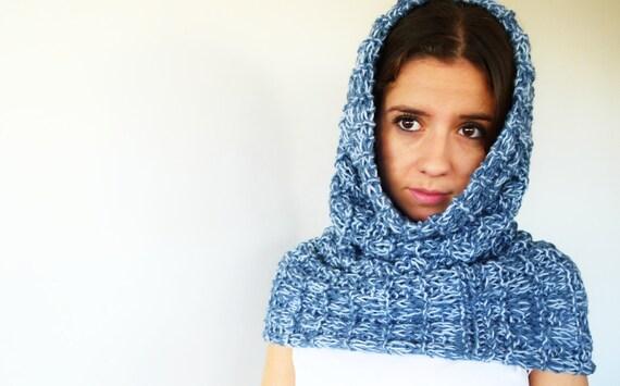 Bufanda tubo hecha a mano. Bufanda azul para mujer. Bufanda capucha. Bufandas tejidas