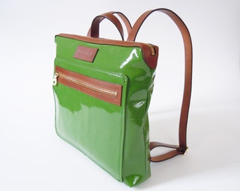 Patent leather backpack