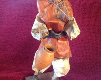 Cartonería Folk Art Figurine originating from Mexico. Old Man with Two Terracotta Pots in Clay.