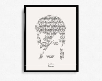 "David Bowie ""Starman"" Typographic Print Design - Digital Print - Poster Print - Home Decor - Wall Art - Minimalist Art - Graphic Design"