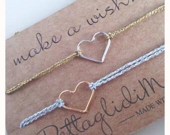 Open heart bracelet and nylon cord
