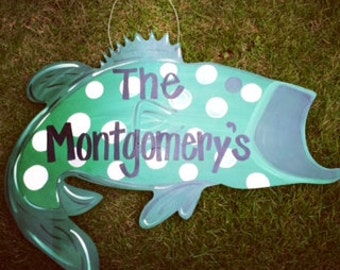 Bass Door Hanger, Fisherman Door Hanger, Grandparent, Father's Day Gift, Wedding Gift