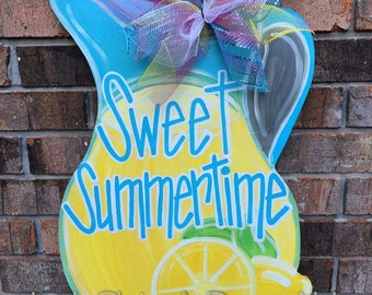 Lemonade Door Hanger, Summer Door Hanger, Welcome Door Hanger,