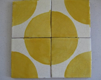 "25-T60 Talavera Yellow or Terracotta Circle ""Sun"" Tile (Shipping Included)"