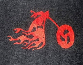 Flaming Motorcycle Silhouette Quilt Applique Pattern Design