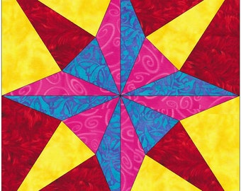 Shadow Star Paper Piece Templates Quilting Block Pattern