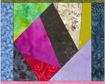 Crazy Patch 7 Paper Foundation Piece Quilting Block Pattern