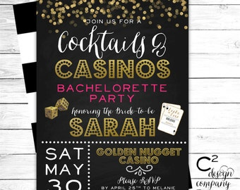 Cocktails & Casinos Bachelorette Invitation
