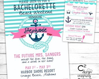 Turquoise & Pink Nautical Bachelorette Beach Weekend Invitation With Itinerary