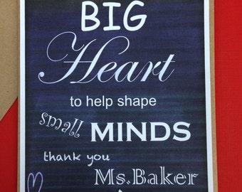 Teacher Thank You Card, Teacher appreciation card, chalkboard card, personalized teacher card