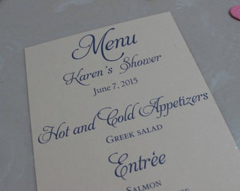 Wedding Menu Card - You Design - your choice of colorsEach menu is 0.50 cents