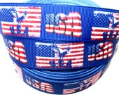 USA Flag Grosgrain Ribbon by the yard for hair bow, embellishment, trim, scrapbooking, gift wrapping