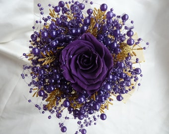 Purple And Gold Preserved Rose Bridesmaids Bouquet With Bubble Pearls Wire Balls