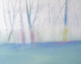 "abstract oil landscape on wood, title: ""Fog"", pay off 30%!"