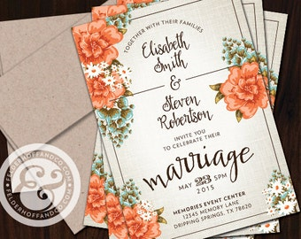 Linen Flowers Wedding Invitation with Coordinating Envelopes