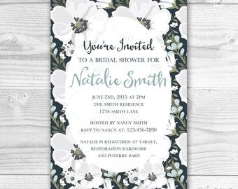 Bridal Shower Invitation PRINTABLE / Wedding Shower Invitation / Bridal Invite Florals / Rustic / Vintage Bridal Invite