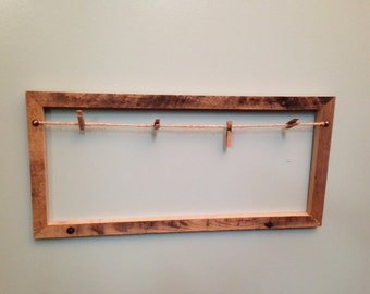 Rustic clothespin picture frame
