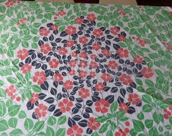 round TABLECLOTH vintage 1970, fabrics,  design cherries
