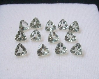 7 mm natural genuine GREEN AMETHYST trillion top cut faceted gemstone.....