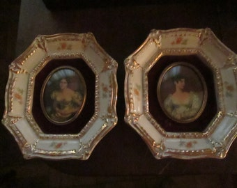 Cameo Porcelain Wall Plaques of the Countesses of Grosvenor and Blessington