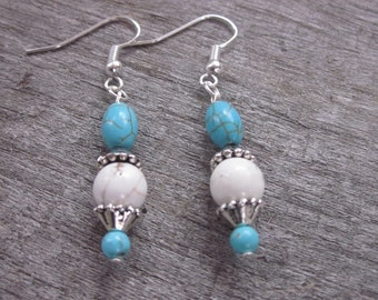 White and blue turquoise magnesite stone silver pewter bead caps bohemian country chic  bridesmaid dangle drop earrings