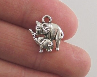 8 pc. Elephant Mom and Baby charms, 15x14mm, antique silver finish