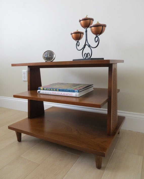 mid century modern walnut three tier end table side table. Black Bedroom Furniture Sets. Home Design Ideas