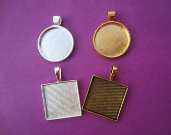 """1"""" inch blanks Pendant Trays WITH GLASS inserts Photo Cabochon and Pendant Tray DIY Photo Pendant Craft Sets 1"""" inch Blank"""