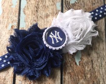 New York YANKEES NY MLB Baseball shabby flower headband Baby Little Girl Hair Bow - Photo Prop