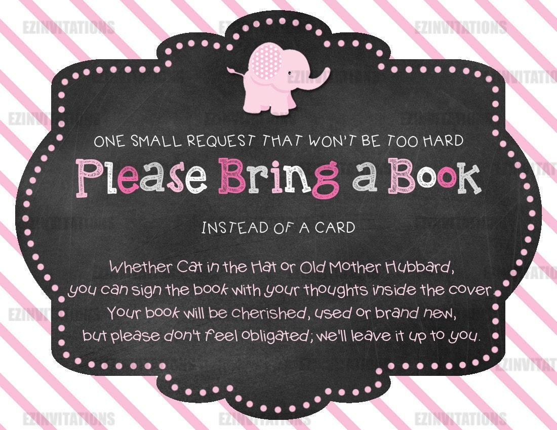 pink and grey chalkboard elephant baby shower book request
