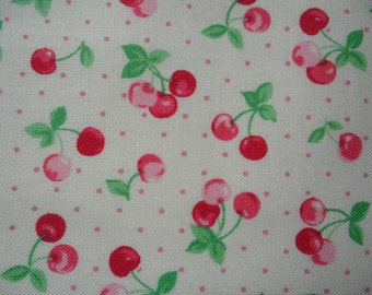 "Fat Quarter of 2014 Lecien Retro 30's Child Smile Cherries and Dots on Off White Background. Approx.18""x 22"" Made in Japan"