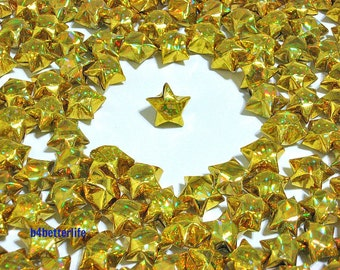 500pcs GOLD Color Medium Size Origami Lucky Stars Hand-folded From 24.5 x 1.2cm Paper Strips. (4D Glittering paper series). #FOS-4.