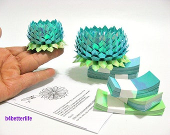 464 sheets of Blue Color Papers Kit For Making 4pcs of Origami Lotus In 2 Different Sizes. (AV paper series).