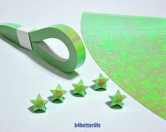 200 Strips Green Color Mini Size Lucky Stars Origami Paper Kits. 24.5cm x 1.0cm. (AV paper series). #SPK-127.