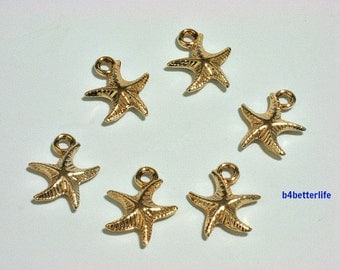 """6pcs """"Starfish"""" Gold Color Plated Metal Charms. #XX42."""