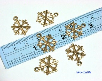 """Lot of 24pcs Double Sided """"Snowflake"""" Gold Color Plated Metal Charms. #XX139."""