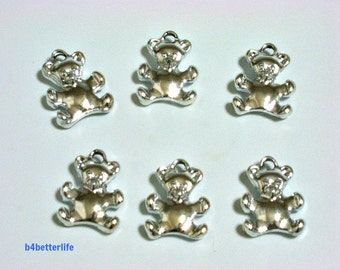 """Lot of 24pcs Double Sided """"Teddy Bear"""" Silver Color Plated Metal Charms. #XX352w."""