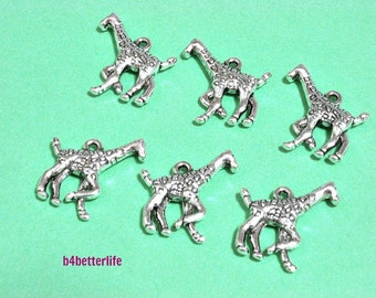 "Lot of 24pcs Antique Silver Tone ""Giraffe"" Double Sided Metal Charms. #JL3376."