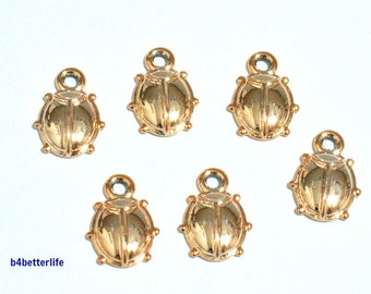 "Lot of 24pcs ""Beetle"" Gold Color Plated Metal Charms. #SW2624."