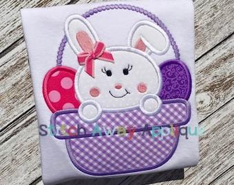 Girl Bunny Easter Basket Machine Applique Design
