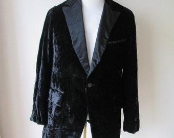 60's-70's CRUSHED VELVET smoking jacket  Black Satin Trimmed Tuxedo/Dinner Jacket Ft. Lauderdale Glam