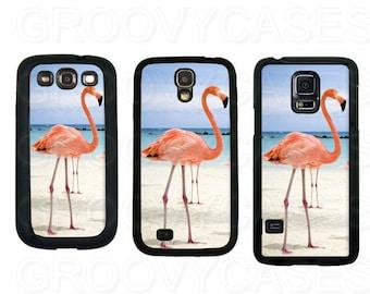 Samsung Galaxy S3 S4 S5 Case Rubber Pink Flamingo