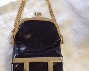 SALE*** Vintage Rosenfeld Black Purse/ Handbag with gold chain