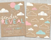 Gender Reveal Invitation, Balloons & Clouds, Boy or Girl, Girl or Boy, Pink or Blue, Blue or Pink, Custom Baby Shower Party Invite Kraft PDF