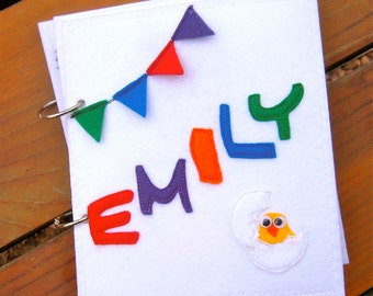 PERSONALIZED Interactive NAME letters - quiet book (felt book/busy book) with snaps, buttons or velcro. Educational toddler/preschool book