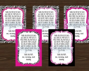Hot Pink Black Zebra Print Thank You Cards Blank or From Baby