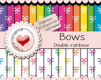 Sale - 28 Digital papers -Bows pattern - 12x12 inches / 3600x3600 pixels / 30.48cm x 30.48cm  (300 ppi) -JPG format.